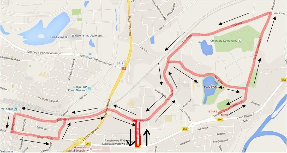 Trasa biegu na 10 km  –  UWAGA! Na trasie 10 km w drodze powrotnej została dodana ulica Przyjaźni.